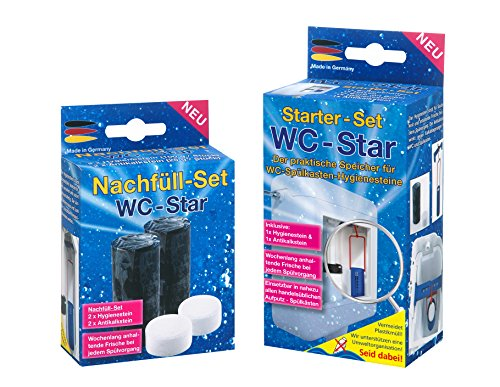WC-Star Starter-Set und 4er - Nachfüll-Set in der Vorteilspackung, (Wasserkastensteine, Blauspüler)