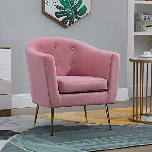 Modern Velvet Tub Chair Pink for Living Room, Lounge, Bedroom, Barrel Chair Occasional Accent Chair with Round Back, Modern Upholstered Lounge Sofa Chair Armchair with Golden Metal Legs (Pink)