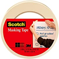 Scotch Tan Home and Office Masking Tape, 0.70 by 54.6 yards, 3436, 1 roll