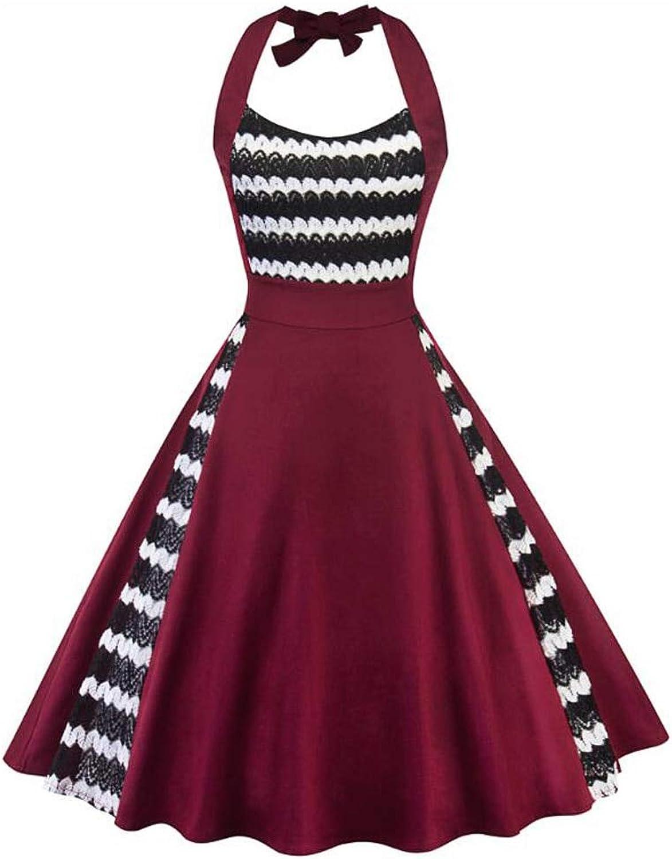 FUZHUANGHM Halter Sleeveless Crochet Lace Summer Vintage Dress Wine Red Zipper Back Party Swing Retro Dress New