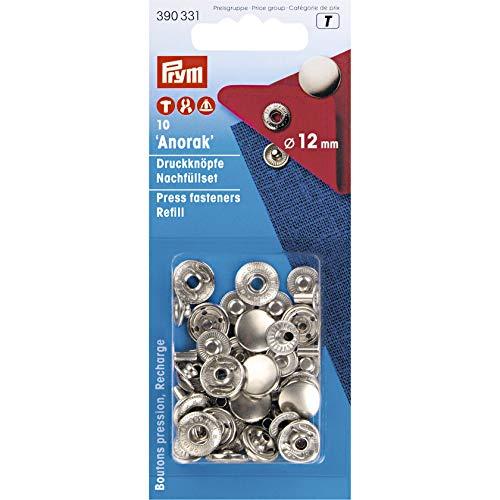 Prym 390331 Nachfüllpackung für 390330 Nähfrei Druckknopf Anorak, Messing 12 mm silberfarbig, metal