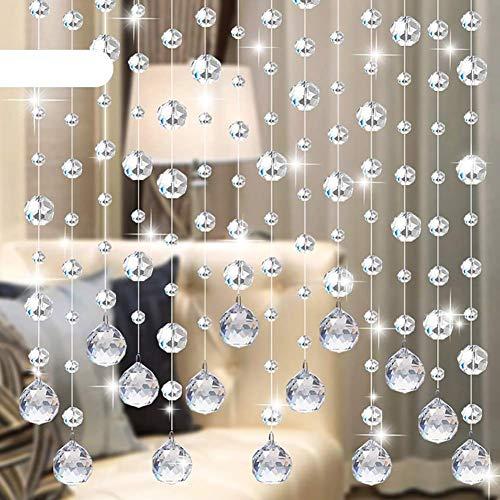 MWPO Cortinas con Cuentas Cristal de Vidrio Divisor de habitación para Ventana Dormitorio Decoración de la Puerta Sala de Estar Cuerdas Colgantes Telón de Fondo Personalizable (Color: C, Tamaño: