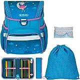 Schulranzen Herlitz Loop Plus Jungen Mädchen Ranzen Tornister Schultasche leicht 5 Teile Set mit Regenhülle (Moon Lady 2471)
