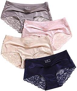losolese Mujer Ropa interior de las bragas de encaje BikiniBreathable Calzoncillos modelada floral del ajuste de la ropa interior 2 / 7Pieces