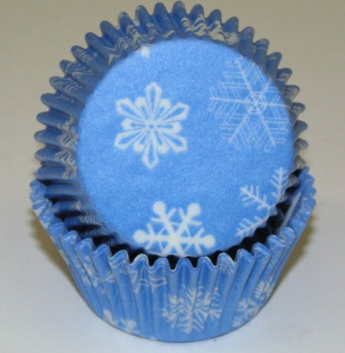 Snowflake Cupcake Liners Baking Cups Standard Size 50 Count Frozen Party by Jubilee Sweet Arts