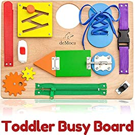 deMoca New Busy Board Activity – Montessori Sensory Educational Toy for Toddlers – Early Learning Basic Life and Fine Motor Skills for Boys and Girls
