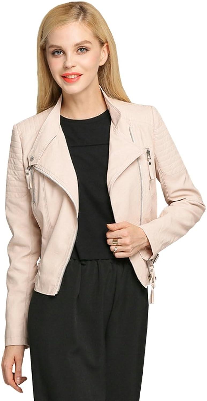 Ilishop Women's Fashion Zip Up Motorcycle Coat Slim Short Faux Leather Jacket