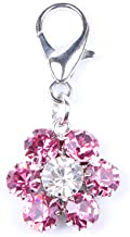 SKS PET Rhinestones Flower Charm Pendant Jewelry for Female Pet Dog Cat Necklace Collar Accessory (Pink)
