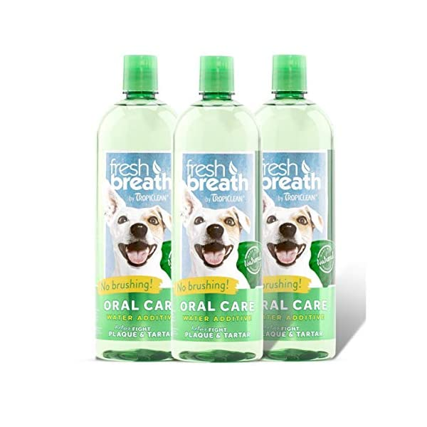 Tropiclean Fresh Breath Plaque Remover Pet Water Additive 33.8oz (Pack of 3) – Packaging may vary