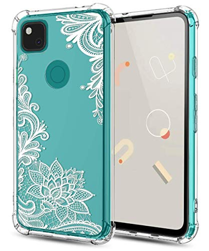 Huness Google Pixel 4a Case Clear Flower Shockproof Series Anti-Fall Soft TPU Bumper Protective Case