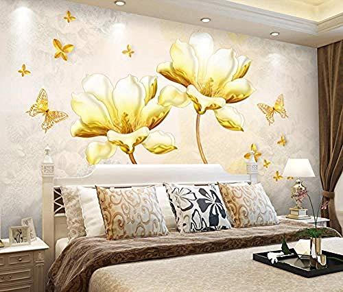 Carta da parati 3D Murales Fiore dorato Fiore trasparente Farfalla Soggiorno Camera da letto Tv Sfondo Decorazione murale Art foto immagine poster -430×300cm(LxA)