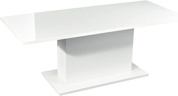 High Gloss White Extendable Rectangular Dining Table Homy Casa Multifunction Space Saving Wood Table High Gloss White Top