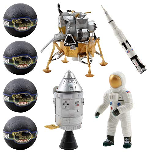 Vokodo Space Toys Station Building Kit in 4 Moon Capsules Kids 3D Puzzle with Astronaut Rocket Pod and Lunar Lander Science NASA Shuttle Exploration STEM Education Easter Great Gift Children Boy Girl