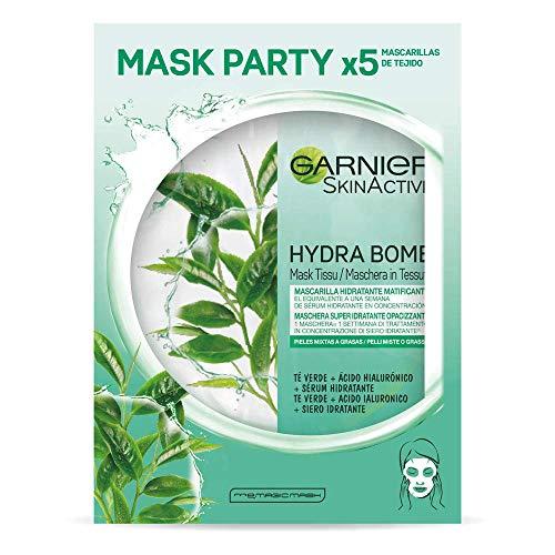 Garnier SkinActive Mask Tissu Matificante x5 unidades, Mascarilla de Tejido Hidratante Matificante con Ácido Hialuronico y Te Verde para pieles mixtas a grasas