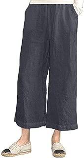 vermers Womens Casual Loose Plus Size Wide Leg Pants - Women Leisure Elastic Waist Cropped Pants Trousers
