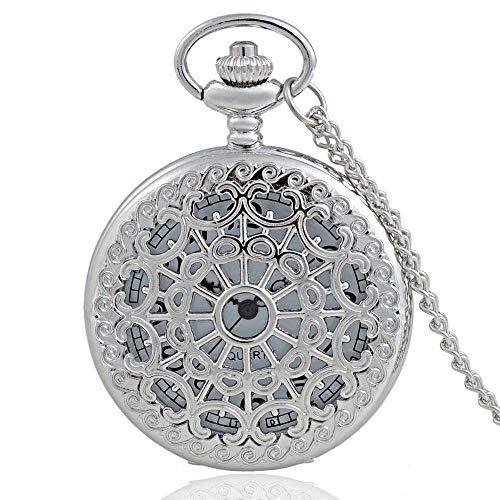 LIANYANG Reloj de Bolsillo Reloj de Bolsillo de Cuarzo Hueco Web Plateado Personalizado con Cadena Collar clásico Retro Reloj Colgante para Regalo de Familiares y Amigos