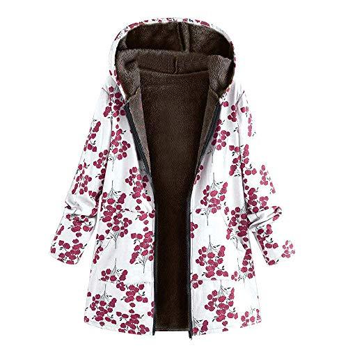 MRULIC Womens Winter Warm Outwear Little Flowers Floral Print Hooded Pockets Vintage Oversize Coats White