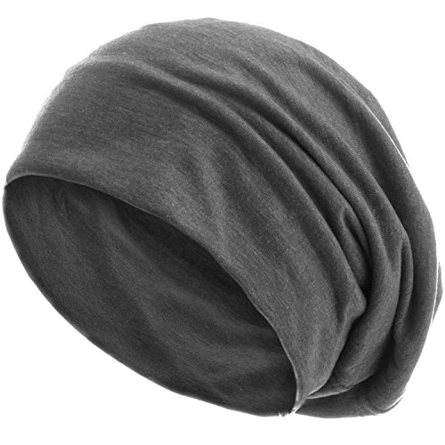style3 Slouch Beanie aus atmungsaktivem, feinem und leichten Jersey Unisex Mütze Haube Bini Einheitsgröße, Farbe:Grau
