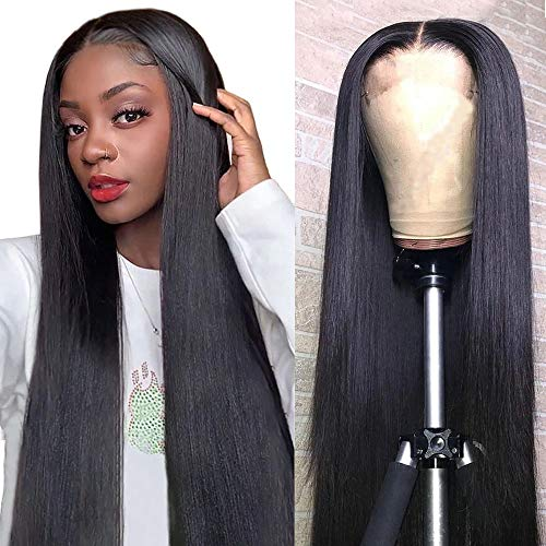 Mariska 4X4 Lace Front Wigs Human Hair Pre Plucked Brazilian Straight Human Hair Lace Closure Wigs for Black Women 150% Density Middle Part Human Hair Wigs (20inch, 4X4 lace closure wig)