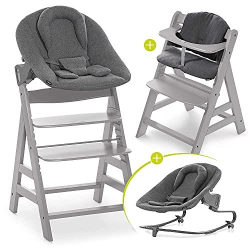 Hauck Kinderstoel Alpha Plus Newborn Set Premium - 4-delige Houten Meegroeistoel vanaf de Geboorte incl. vernieuwd Wipstoeltje, Zitkussens, en 5-punts-gordel - Grijs/Jersey Charcoal