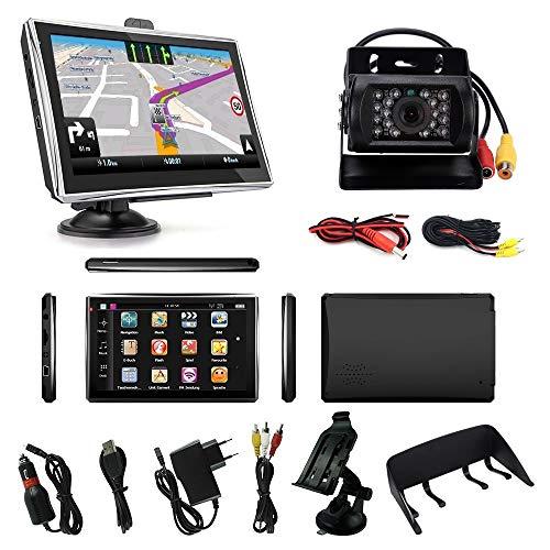 Navigationsgerät für LKW PKW Wohnmobile Navi 7 Zoll mit Sprachführung 8GB 256MB mit Bluetooth Navigation 2021 Europa mit Rückfahrkamera Nachtischt