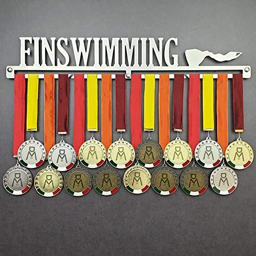 FINSWIMMING - Colgador de medallas Deportivas - Medallero de Pared Natación de Aletas, Nado - Sport Medal Hanger Display - Display Rack (600 mm x 100 mm x 3 mm)