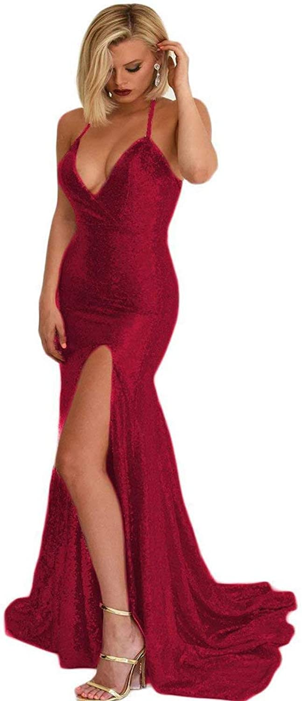 TTdamai Sexy Halter Prom Dress Mermaid Women's High Slit Evening Party Gowns