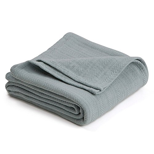 COTTON WOVEN BLANKET BY VELLUX - Natural, Cozy, Warm, Chevron Textured, Pet-Friendly, All-Seasons - Gray Mist (Green).