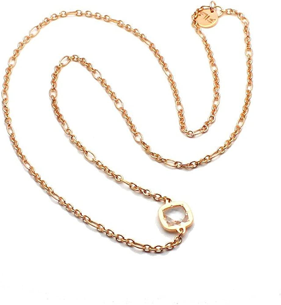 Rebecca collana per donna con pietra idrotermale in bronzo placcato oro rosa BSTKTB17