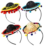 Joy Bang 4 Pack Fiesta Headband Mini Mexican Headband Hat Straw Sombrero Hat Fiesta Party Hats for Fiesta Birthday Party Cinco de Mayo Mexico Themed Party Supplies Favors