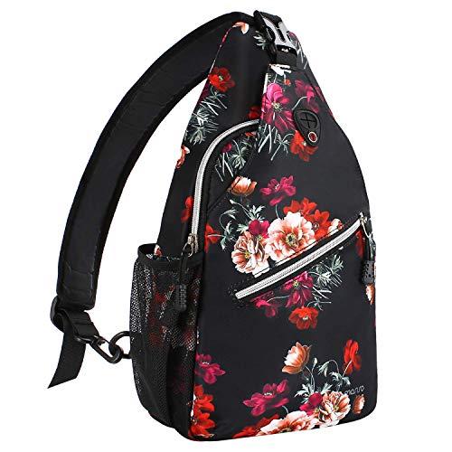 MOSISO Sling Backpack, Durable Polyester Water Repellent Chest Shoulder Unbalance Gym Fanny Lightweight Crossbody Sack Satchel Outdoor Hiking Bag for Men Women Girls Boys Travel Daypack, Cottonrose