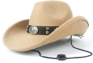 2019 Womens Hats Caps Womens Western Cowboy Hat for WomenWith Punk Belt Wool Sombrero Hat Adult Church Hat Size 56-58CM Lady Adjustable Fashion Foldable (Color : Khaki, Size : 56-58)