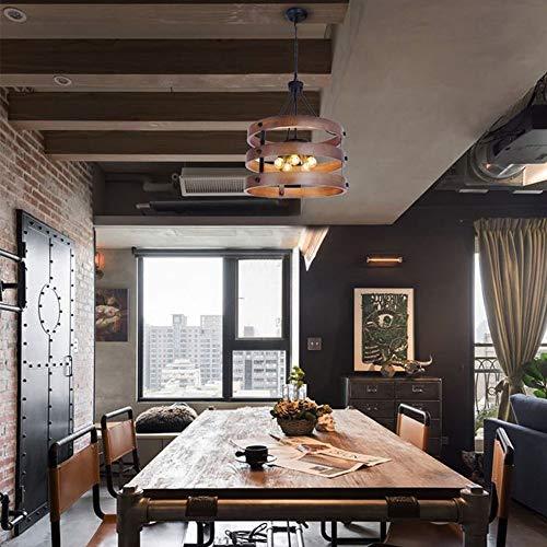 Zzaoxin Lámparas de araña Retro Industrial Wind Loft Lámpara De Madera Lámparas De Madera Creativas Restaurante Dormitorio Sala De Estar Bar Cafetería Iluminación 45 * 54 Cm