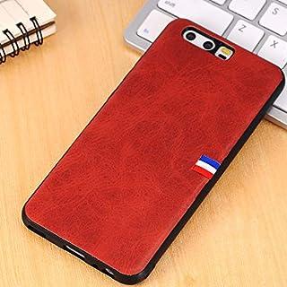 KMLP Huawei P10 PUレザークレイジーホースのテクスチャの旗詳細保護バックケース (Color : Red)