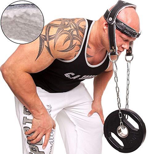 C.P. Sports Kopf und Nackentrainer Komfort extra weich gepolstert mit Kette und Karabinerhaken
