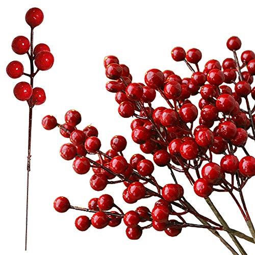 ZoneYan Künstliche Holly Berry, Künstliche Beeren, Rote Beeren Deko, Künstliche Beeren Rot, Rote Beeren Deko Weihnachten, Ideal für Dekoration und Kunsthandwerk.