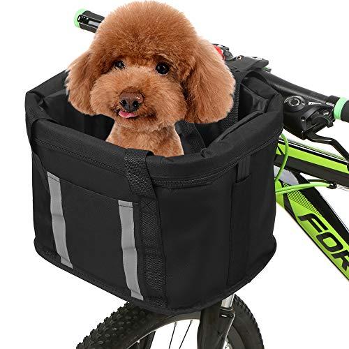 Leeofty Cesta Plegable para Bicicleta con Tiras Reflectantes Manillar Desmontable Cesta Delantera Pet Cat Dog Carrier Bag Mochila de Compras para desplazamientos