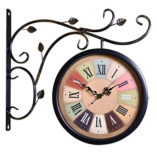 Wall Clocks Battery Operated Double Sided Outdoor On Bracket Train Station Round Clock with Rolling Wall Side Decoration Home Decor Metal Clock with Indoor Temperature (Color : D)