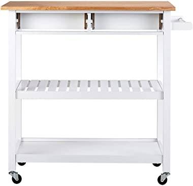 ChooChoo Rolling Kitchen Cart, Portable Kitchen Island Wood Top Kitchen Trolley with Drawers and Two-Tier Open Shelf, Towel R