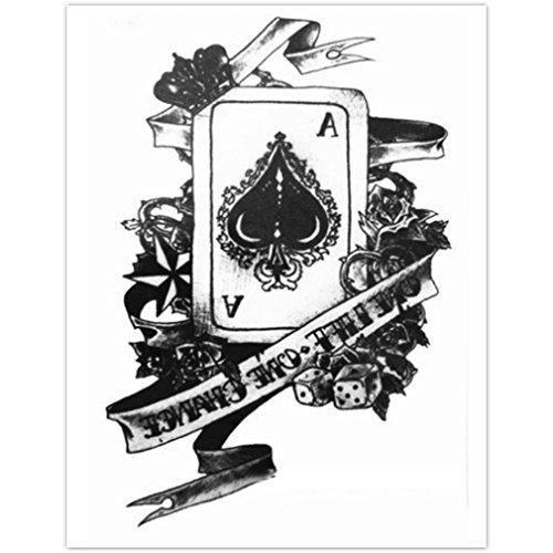 EROSPA® Tattoo-Bogen temporär - Aufkleber Karte Pik Ass / Poker Spiel 15 x 21 cm
