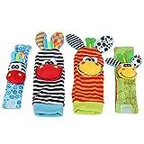 Calcetines y Muñeca para Bebé, 4pcs bebé calcetines y muñequeras sonajero juguetes conjunto de dibujos animados animales de peluche muñecas con anillo de campana(#3)