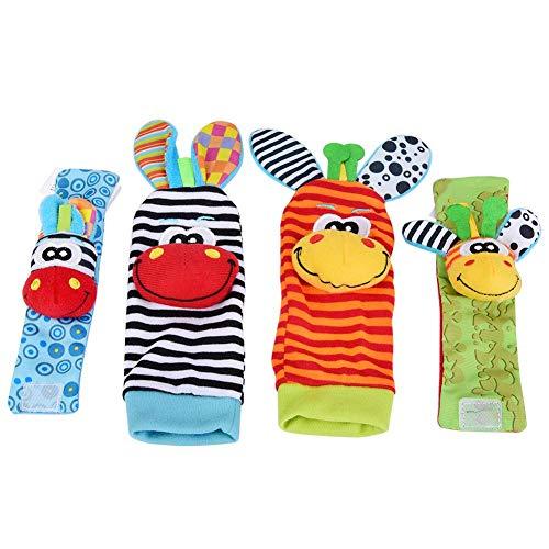 4 Stks Baby Polsband en Sokken Rammelaar Speelgoed Set Cartoon Dier Pluche Poppen met Ring Bell voor Baby Peuters #3