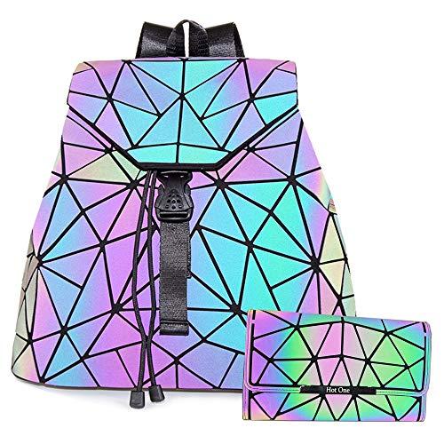 HotOne Geometric Luminous Purses and Handbags Shard Lattice Eco-friendly Leather Holographic Purse (Backpack 3191+Flapped Wallet)