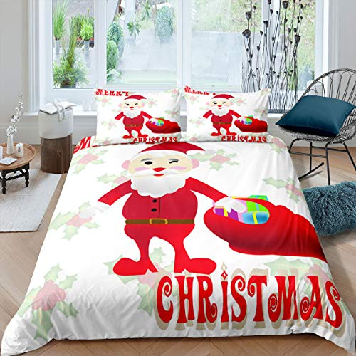 Cartoon Santa Claus Bedding Cover Sets Red Hat Cloth White Bread Old Man Duvet Sets King Ultra Soft Microfiber 3 Pieces Comforter Sets(1 Duvet Cover 2 Pillow Cases)