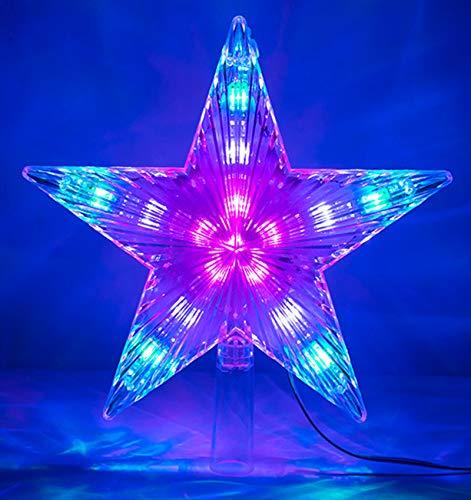 LAWOHO Adorno para árbol de Navidad Estrella Multicolor Intermitente 31 LED Adorno navideño en la...