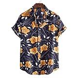Camisas Algodón Y Lino de Hombres Camisetas Deportes de Playa para Hombre Camiseta Moda Manga Corta con Botones Casual Verano Estampado Camisas