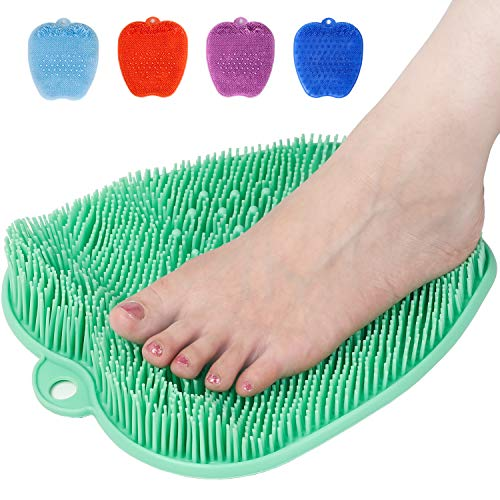 Shower Foot Cleaner Scrubber Massager, Foot Pain Tired Feet Relaxing Acupressure Mat for Shower Floor with Non-Slip Suction Cups, Increase Circulation, Exfoliation (Apple Green, 10.3 x 9.5 Inches)
