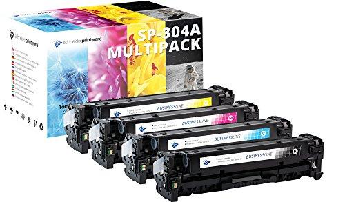 4 Schneider Printware Toner | 30 Prozent mehr Druckleistung | kompatibel zu HP 304A für HP Color Laserjet CP2025 CP2025dn CP2025n CM2320fxi MFP CM2320nf MFP CC530A CC531A CC532A CC533A
