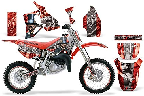 AMR Racing MX Dirt Bike Graphics kit Sticker Decal Compatible with Honda CR80 1996-2002 - Mad Hatter Silver Red