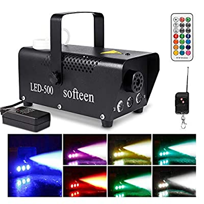 Upgraded Smoke Machine with Lights, softeen 500W Party Fog Machine with 2 Wireless Remote Controls, Fogging Machine with Colorful LED Light Effect for Holiday Parties Wedding Christmas Halloween